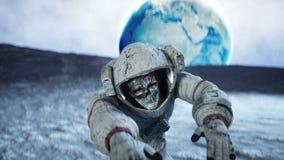 Мертвый астронавт зомби на луне кадавр Реалистическая анимация 4K иллюстрация вектора