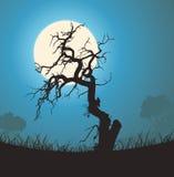 мертвый вал силуэта лунного света иллюстрация вектора