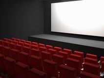 Места кино и белый пустой экран Стоковые Изображения