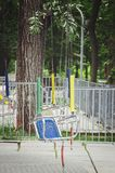 Места carousel детей на цепях стоковое изображение rf