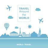 Места Famouse Arround перемещения иллюстрация вектора мира Путешествующ самолетом, отключение самолета в различной стране бесплатная иллюстрация