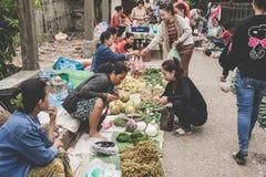 Местная лаосская женщина племени холма продает овощи на ежедневном рынке утра в Luang Prabang, Лаосе 13-ого ноября 2017 Стоковые Фотографии RF