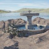 Местность фантазии с фонтаном стоковое фото rf