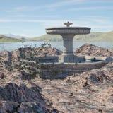 Местность фантазии с фонтаном стоковые изображения rf