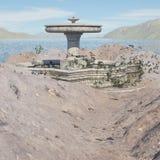 Местность фантазии с фонтаном стоковая фотография rf
