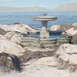 Местность фантазии с фонтаном стоковые фото