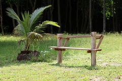 Местные ручной работы деревянные скамьи в саде стоковое фото