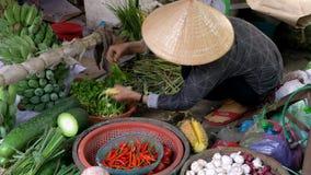 Местный держатель стойла женщины продавая овощи на улицах дневного времени на Hoi рынок, Вьетнам видеоматериал
