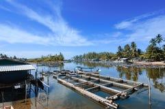 Местный рыбозавод берега реки на канале стоковые изображения