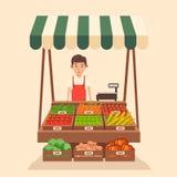 Местный рынок стойла продавать овощи Плоская иллюстрация вектора иллюстрация вектора