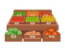 Местный рынок стойла продавать овощи Плоская иллюстрация вектора Стоковое Изображение RF