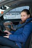 место безопасности мати ребенка автомобиля Стоковые Изображения