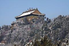 Место буддийского положения в сезоне снега Стоковые Изображения