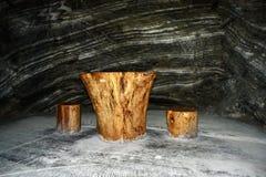 Место воссоздания в солевом руднике Ocnele Mari стоковое фото