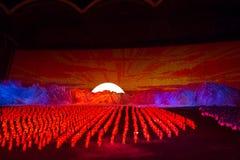 Место восхода солнца на играх DPRK Arirang массовых Стоковые Фото
