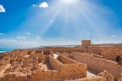Место всемирного наследия ЮНЕСКО Massada около мертвого моря в Израиле стоковые фотографии rf