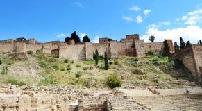 Место всемирного наследия ЮНЕСКО: Внешний взгляд Alcazaba, Малаги, Испании Стоковое Изображение