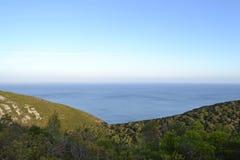 Место где море поженилось гора Стоковое Изображение
