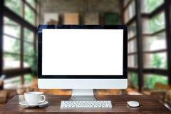 Место для работы вида спереди с компьютером, стоковое фото rf