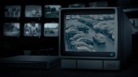 Место для стоянки на мониторе CCTV сток-видео