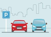 Место для стоянки с 2 автомобилями на свете - голубой предпосылке Стоковая Фотография