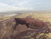 Место загрязнения отбросов производства, вид с воздуха стоковая фотография rf