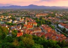 Место захода солнца горизонта Любляна Стоковая Фотография