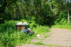 Место захоронения отходов, свалка мусора в парке города Стоковое фото RF