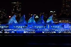 Место Канады, Ванкувер на ноче с светлой выставкой Стоковое Изображение RF