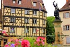 Место Кольмара с статуей и фонтаном стоковые изображения
