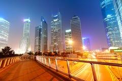 Место ночи города Шанхая Стоковая Фотография