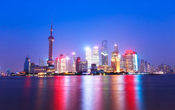 Место ночи города Шанхая Стоковые Изображения