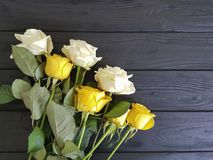 место предпосылки черноты желтых роз деревянное Стоковое Изображение