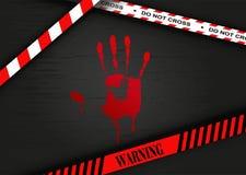Место преступления - кровопролитная печать руки иллюстрация штока