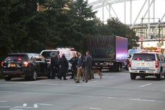 Место преступления теракта в более низком Манхаттане в Нью-Йорке Стоковые Фотографии RF