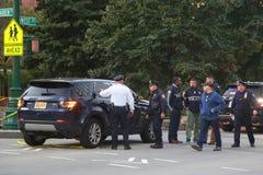 Место преступления теракта в более низком Манхаттане в Нью-Йорке Стоковое фото RF