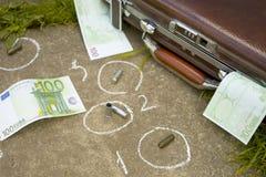 Место преступления с европейской валютой Стоковая Фотография RF