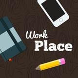 Место работы на деревянной предпосылке Стоковые Фото