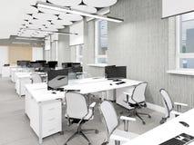 Место работы пустого современного офиса внутреннее Стоковые Фотографии RF