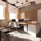 Место работы пустого современного офиса внутреннее Стоковая Фотография RF