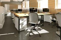 Место работы пустого современного офиса внутреннее Стоковое Изображение RF