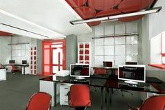 Место работы пустого современного офиса внутреннее Стоковое Изображение