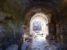 Место реставрационных работ Свод древней крепости стоковое изображение rf