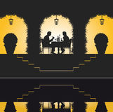 место ресторана романтичное иллюстрация вектора