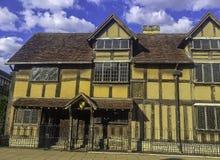 Место рождения Вильям Shakespeare's - шестнадцатый век полу-timbered дом - улица Henley, Стратфорд-на-Эвон, Уорикшир, Великобри стоковая фотография