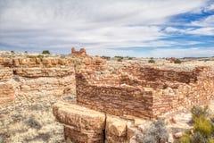Место руин Lomaki около национального монумента кратера захода солнца стоковые изображения rf