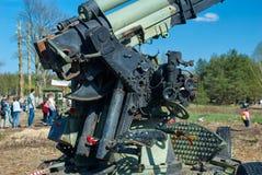 Место сражений во время Второй Мировой Войны в России, выставки воинских оружий, зенитной пушки Стоковое Изображение