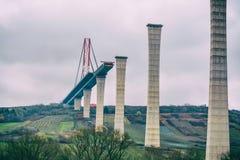Место строительства моста, высокий мост Мозель Стоковые Фотографии RF