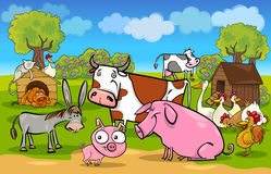 Место шаржа сельское с животноводческими фермами бесплатная иллюстрация