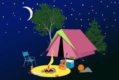 Место для лагеря на ноче иллюстрация вектора